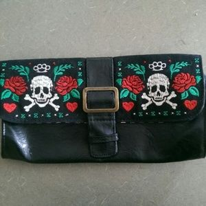 Faux leather embroidered skull & roses clutch